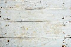 Stary drewnianej deski malujący biel Zdjęcie Royalty Free