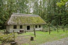 Stary drewniany dom, biały z pokrywającym strzechą dachem zakrywającym z mech, tapeta Fotografia Royalty Free