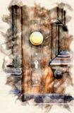 Stary drewniany drzwi z z?otym doorknob ilustracji