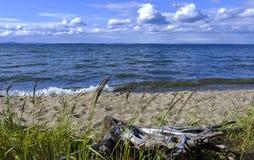 Stary drewniany fiszorek na jeziorze Fotografia Stock