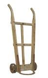 Stary drewniany handcart odizolowywający. zdjęcia stock