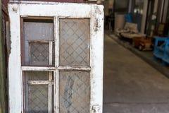 Stary drewniany i szklany okno Obrazy Stock