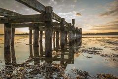 Stary drewniany jetty z słupami odbija w wodzie Zdjęcie Royalty Free