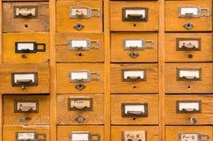 Stary drewniany karciany katalog Zdjęcia Royalty Free