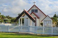Stary drewniany kościół w Maketu, Nowa Zelandia zdjęcia stock