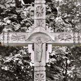 Stary drewniany krzyż z krucyfiksem Zdjęcie Stock