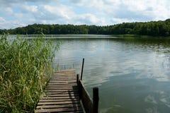 Stary drewniany molo i trzcina na jeziorze Zdjęcia Royalty Free