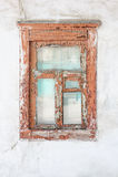 Stary drewniany okno w starym domu Zdjęcia Royalty Free