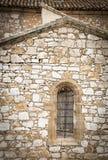 Stary drewniany okno z kruszcowymi ochrona barami Obrazy Royalty Free