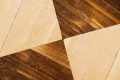 Stary drewniany parkietowy z geometrycznym wzorem Obraz Stock