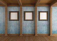 Stary drewniany pokój z klasyk ramą Zdjęcia Royalty Free