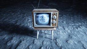 Stary drewniany rocznik TV na księżyc Ziemski tło Astronautyczny pojęcie wyemitowany 3d rendering Obrazy Royalty Free