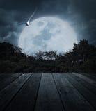 Stary drewniany stół nad drzewa, księżyc, ptasiego i strasznego chmurnym niebem, Ho Zdjęcie Royalty Free
