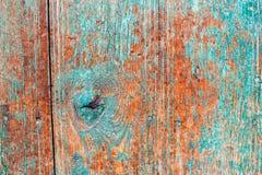 Stary drewniany tło z błękit pluskoczącą farbą Rocznika drewna tekstura obraz stock