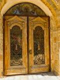 Stary drzwi z kratownicą Obraz Stock