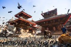 Stary Durbar kwadrat z pagodami Zdjęcia Royalty Free