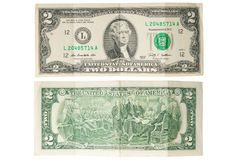 Stary dwa dolara banknotu Fotografia Royalty Free