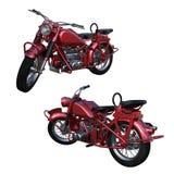 Stary dwumiejscowy czerwony motocykl Obrazy Stock