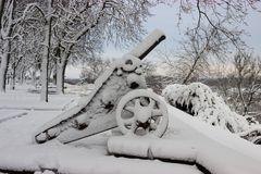 Stary działo i drzewa zakrywaliśmy śnieg po zimy burzy Obraz Stock