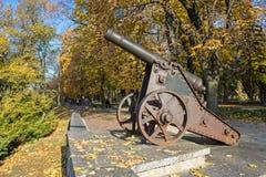 Stary działo w jesień parku Zdjęcie Stock