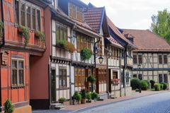 Stary dziejowy grodzki Stolberg przy Harz, Niemcy obraz stock