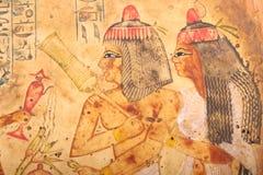 Stary Egipski królewiątek i królowej papirus Obraz Stock