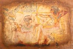 Stary Egipski królewiątek i królowej papirus Zdjęcia Royalty Free