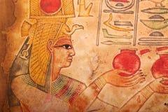Stary Egipski królewiątek i królowej papirus Zdjęcie Royalty Free