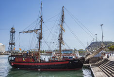 Stary żeglowanie statek w Barcelona Zdjęcie Royalty Free