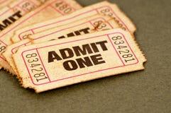 Stary film przyznaje jeden bilety Zdjęcie Stock