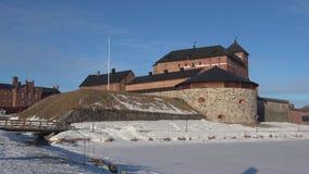 Stary forteca Hameenlinna na brzeg jeziorny Vanajavesi, Finlandia zbiory