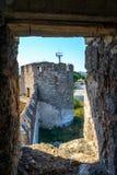 Stary forteca na rzecznym Dniester w grodzkiej gięciarce, Transnistria Miasto wśród granic Moldova kontrolny unrecogni Fotografia Stock
