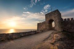 Stary forteca przy wschodem słońca Obrazy Royalty Free