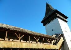 Stary fortecy wierza w historycznym centrum miasta Medias, Rom Zdjęcie Stock
