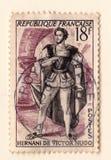 Stary francuski znaczek pocztowy z aktorem od sztuki Hernani zwycięzcą Hugo obrazy stock