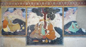 Stary fresk w pałac Chehel Sotoun fotografia royalty free