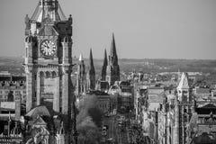 Stary grodzki Edynburg i Edynburg kasztel zdjęcie stock