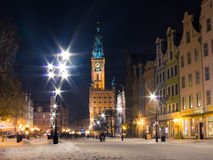 Stary grodzki Gdański Polska Europa. Zimy noc. Fotografia Royalty Free