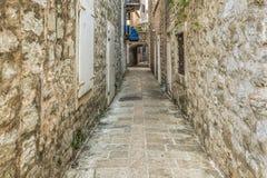 Stary Grodzki Uliczny Budva, Montenegro Zdjęcie Stock