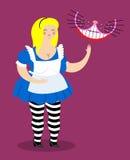 Stary gruby Alice Alice w krainy cudów i Cheshire kocie Kobieta i sh royalty ilustracja