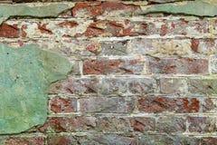 Stary grunge cegły zieleni ściany tło Obraz Stock