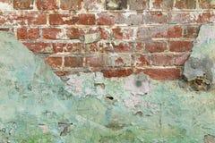 Stary grunge cegły zieleni ściany tło Obrazy Stock