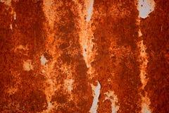 Stary Grungy i Brudny Czerwony ośniedziały metalu prześcieradła tekstury tło Obrazy Stock