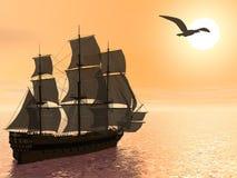 Stary handlowy statek - 3D odpłacają się ilustracja wektor