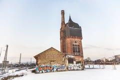 Stary historyczny Watertower przy dworcem w Wiesbaden Fotografia Royalty Free