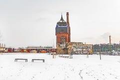 Stary historyczny Watertower przy dworcem w Wiesbaden Zdjęcie Royalty Free
