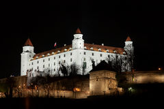 Stary hrad castle in Bratislava at night Royalty Free Stock Images