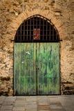 Stary i nieociosany zielony drewniany drzwi fotografia royalty free