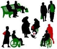 Stary i niepełnosprawni. royalty ilustracja