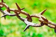 Stary i ośniedziały łańcuch z ostrymi krawędziami przeciw tłu zielona trawa, zakaz na wejściu, tło zielona trawa z sh Fotografia Stock